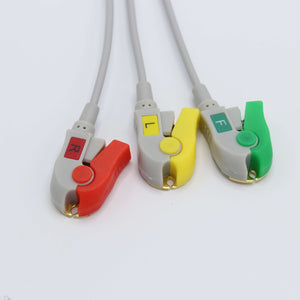 Compatible Biolight ECG Cable 3 Leadwires IEC 12 Pin Pinch/Grabber Connector - sinokmed