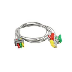 Compatible Datex Ohmeda ECG 3 lead wire IEC European Standard Pinch/Grabber - sinokmed