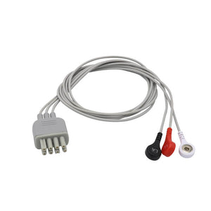 Compatible Nihon Kohden ECG 3 Lead Wires AHA Snap Connector - sinokmed