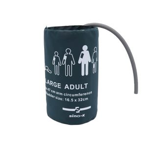 Reusable Blood Pressure Cuff Single Tube Large Adult Use 33 - 47 cm Arm Circumference(dark green with bag) - sinokmed