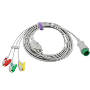 Compatible Mindray ECG Cable 3 Leadwires 12-Pin Connector Pinch/Grabber IEC European Standard