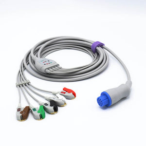 Compatible GE Datex Ohmeda ECG Cable with 5 Lead ECG Cables 4.0 Pinch/Grabber Connector Round 10 Pins AHA Connector