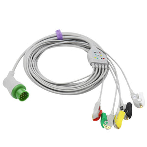 Compatible Biolight ECG Cable 5 Leadwires Pinch/Grabber IEC European Standard Connector - sinokmed