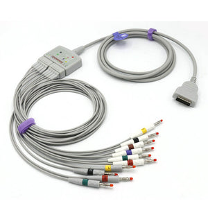 Compatible Marquette EKG Trunk cable 22341809 + EKG Leadwire 38401817 AHA Connector