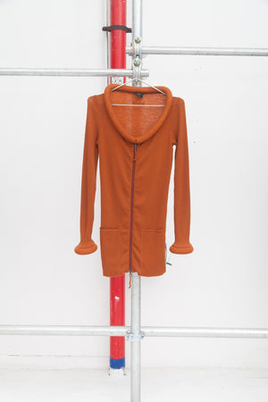 Jean Paul Gaultier Copper Brown Tube Ribbed Knit Jacket