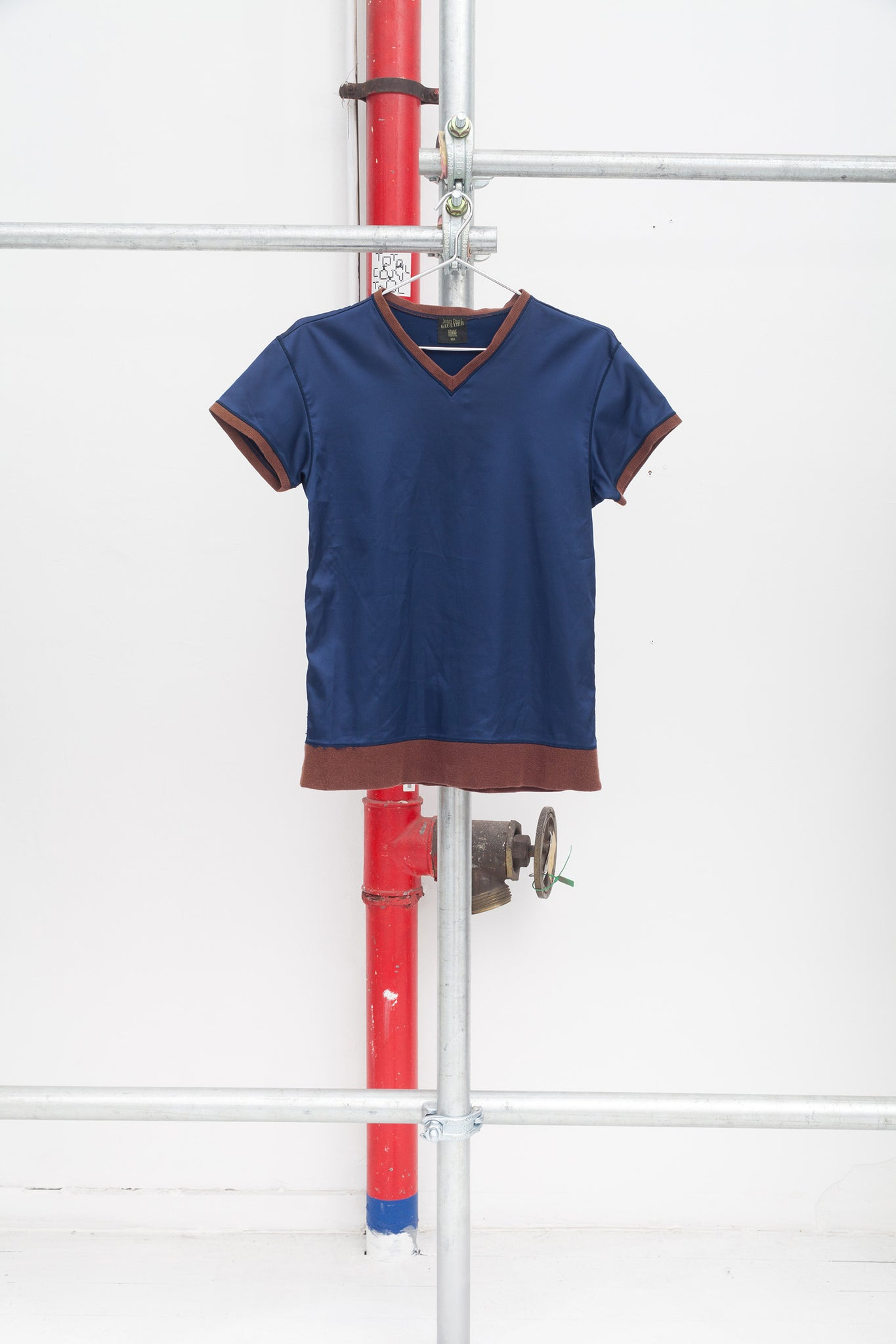 Jean Paul Gaultier Purple Shiny V-Neck T-shirt