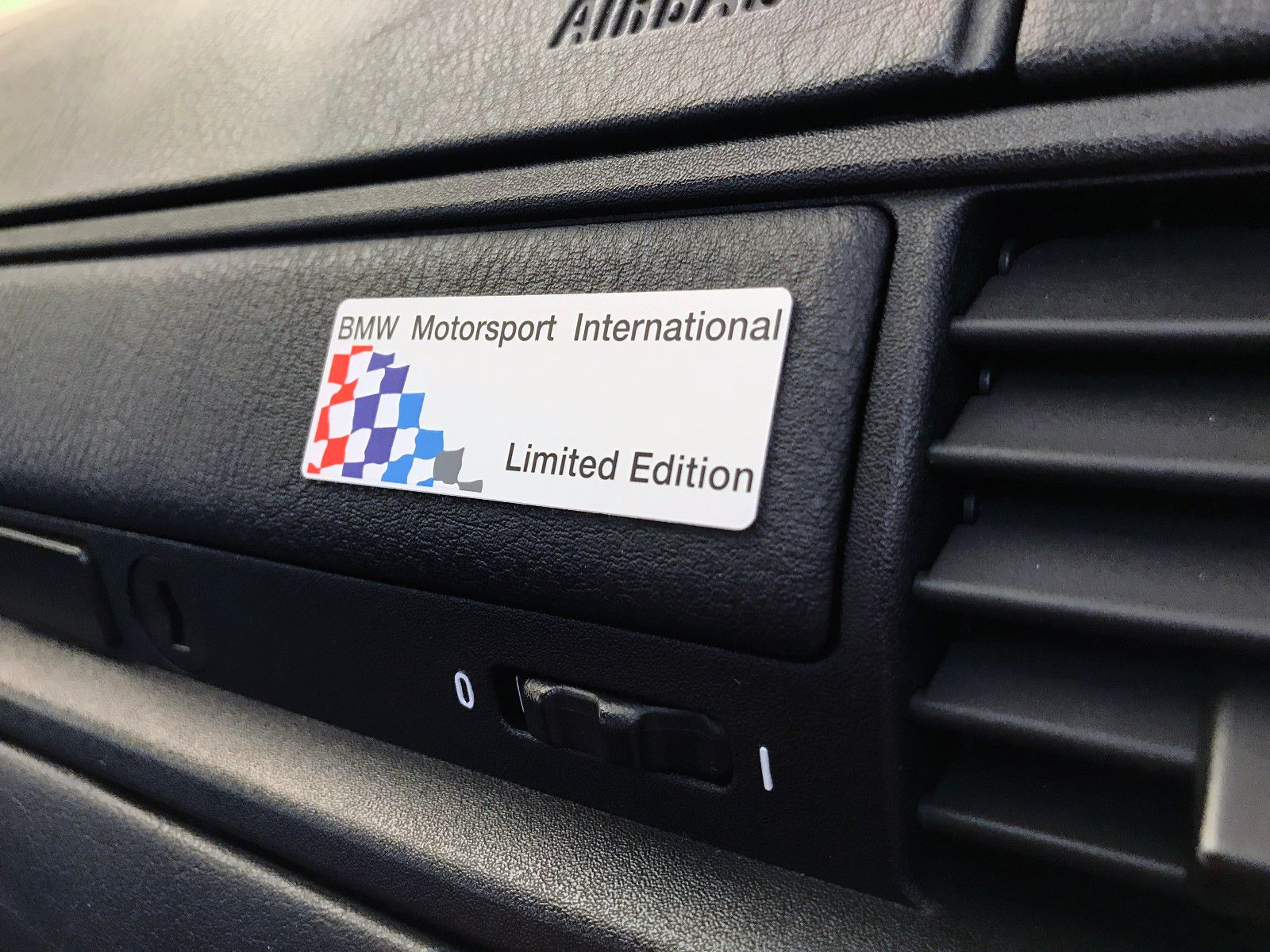 BMW Motorsport International Limited Edition Glovebox Trim Plaques