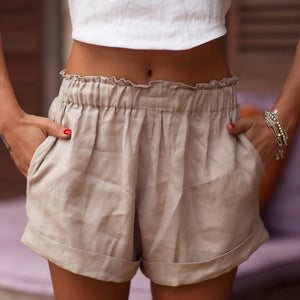 LJC Designs - Zoe Linen Shorts - Natural