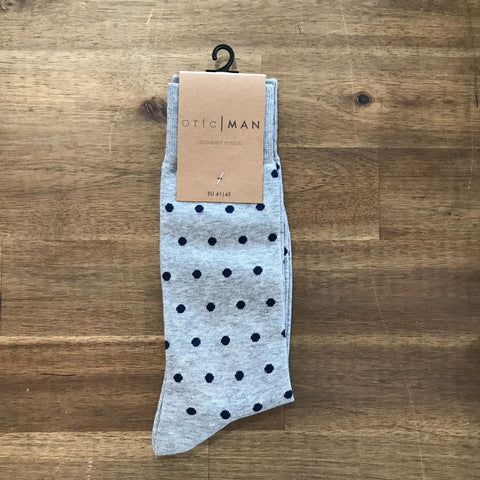 Ortc MAN - Grey and Navy Polka Socks