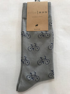 Ortc MAN - Grey Cotton with Blue Bicycle Socks