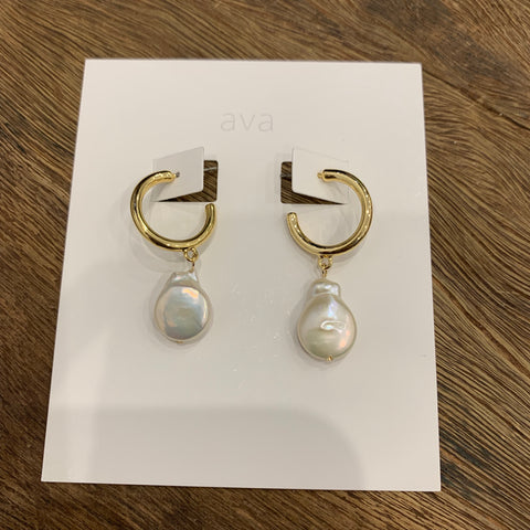 Ava Jewellery- Pearl Hoop Earrings