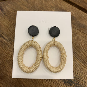 Ava Jewellery- Natural Woven Hoop with Black Wood