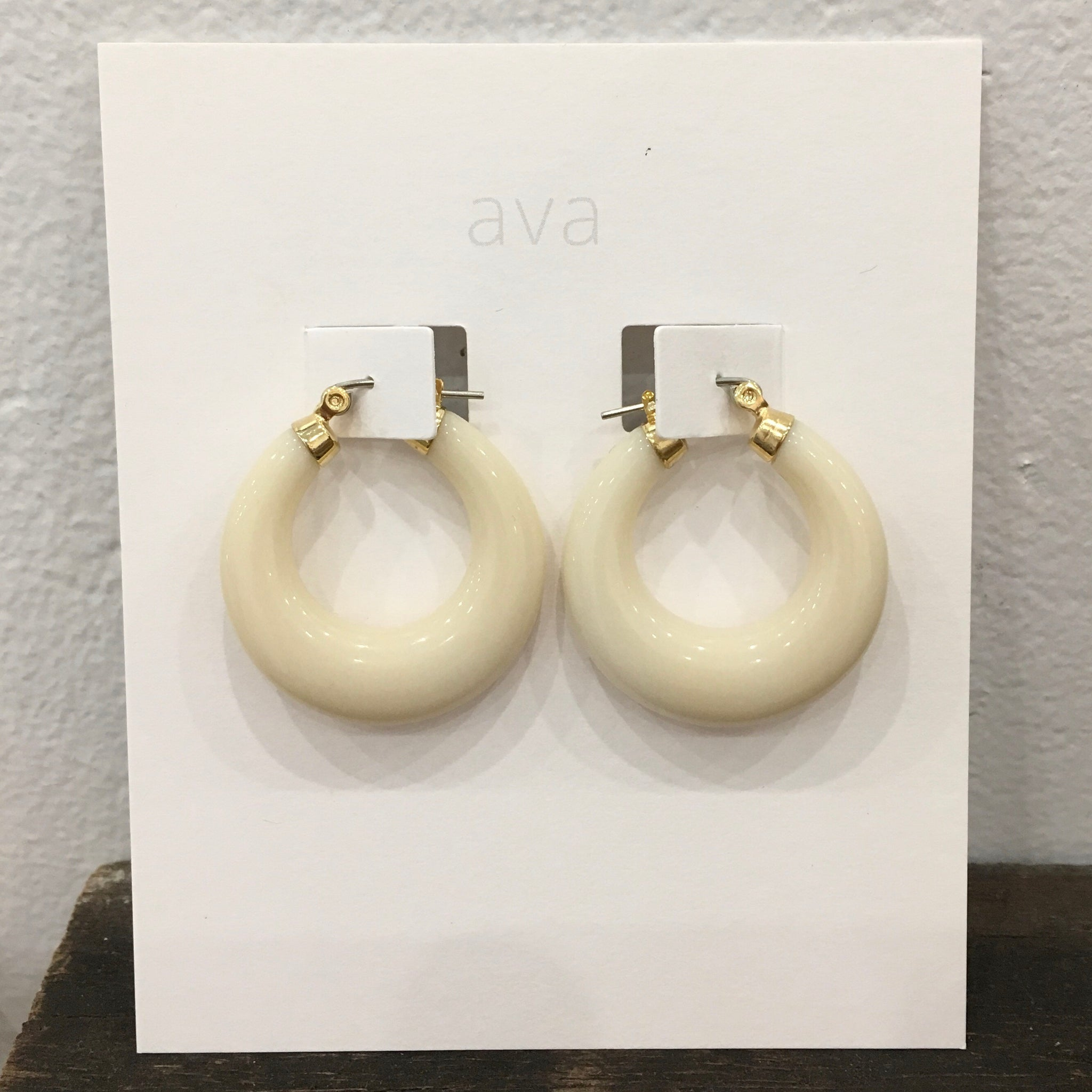 Ava Jewellery - Cream Hoops