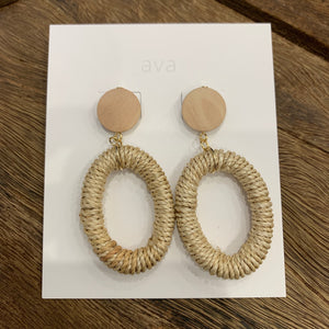 Ava Jewellery- Natural Woven Hoops with Natural Wood