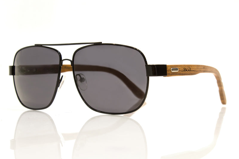 Makaha in Acacia Wood and Black Lenses