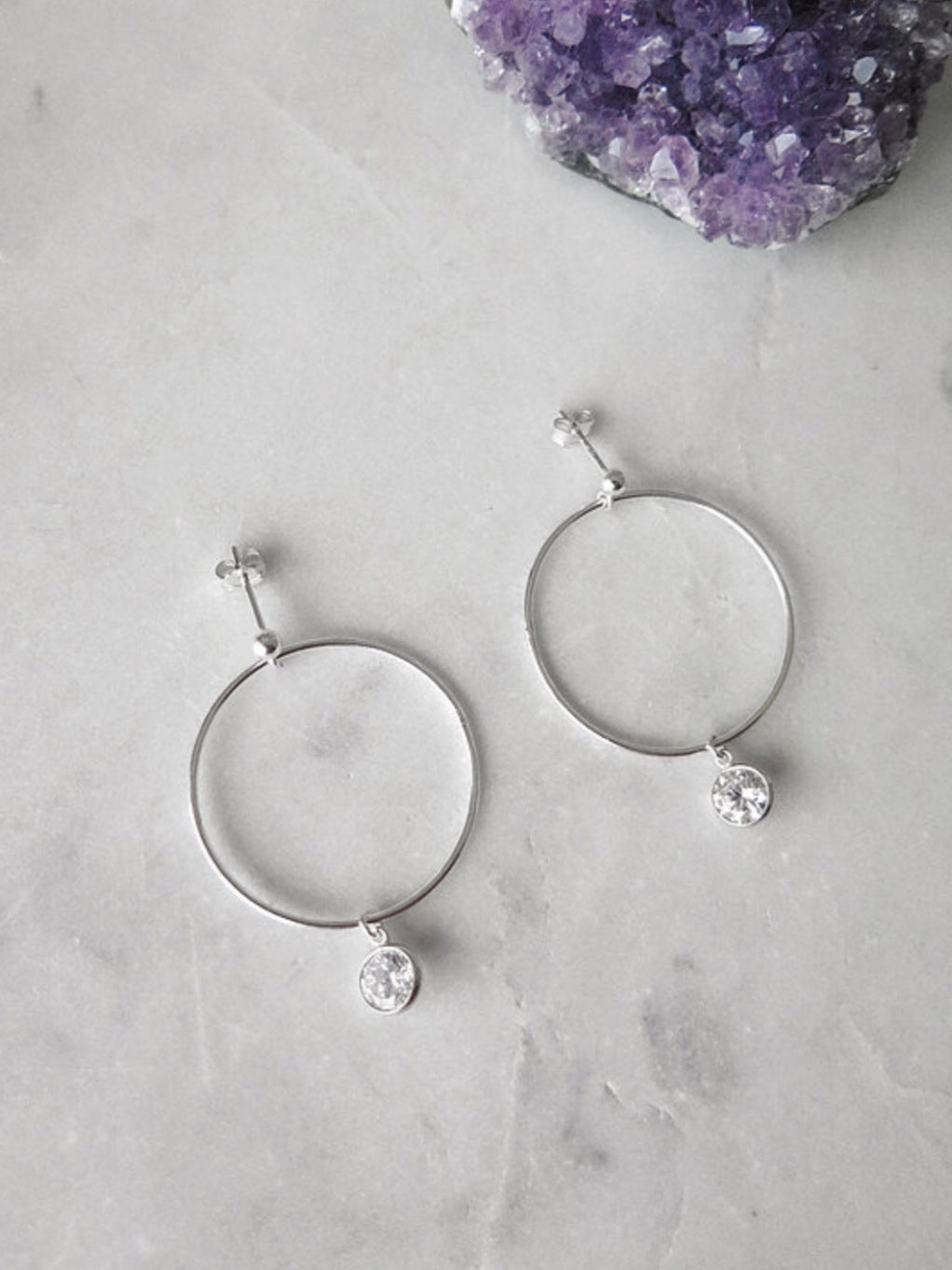 CIRCLE CZ DROP EARRINGS - STERLING SILVER