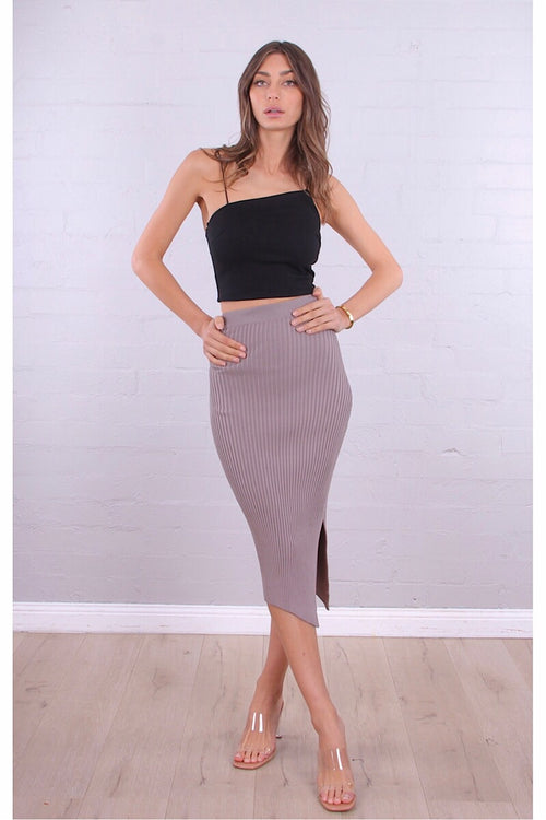 GISELLE RIBBED SKIRT - MOCHA