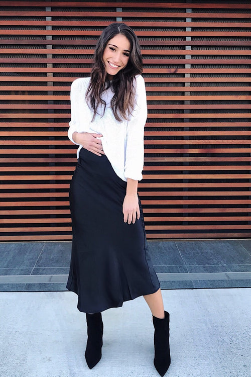 ZARA MIDI SKIRT - BLACK