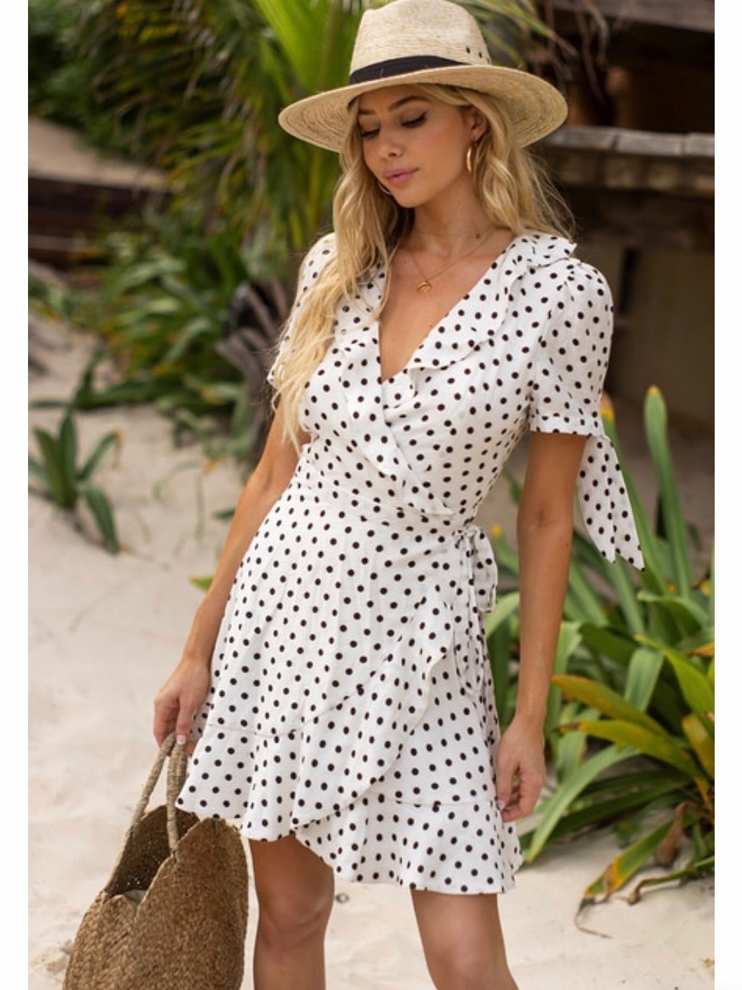 DREW DRESS - WHITE POLKA DOT