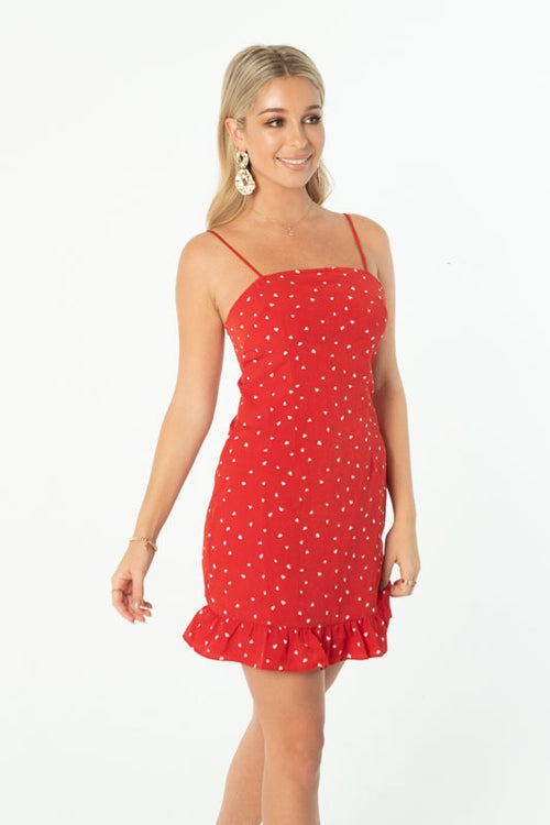 QUEEN OF HEARTS MINI DRESS - RED