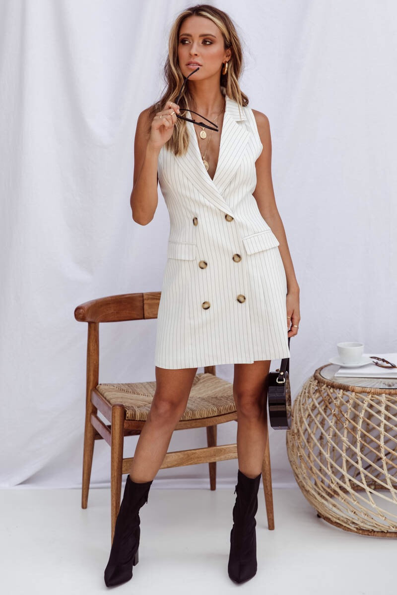 GIRL BOSS DRESS - WHITE PIN STRIPE
