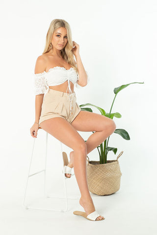 SLICE OF HEAVEN BANDEAU TOP - BEIGE STRIPE
