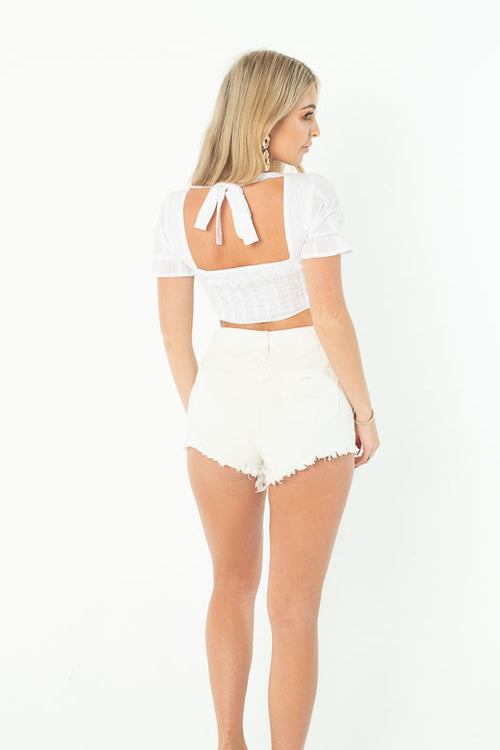 JOIN THE FRAY DENIM SHORTS - WHITE