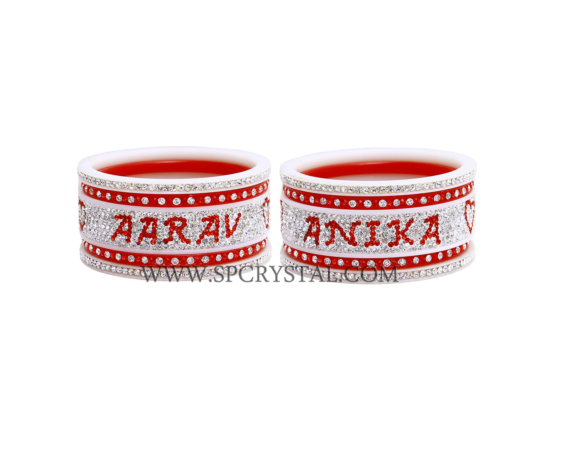 Red White Personalized Bangles Set