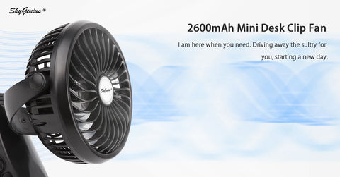 2600mAh  Battery Operated Clip on Mini Desk Fan
