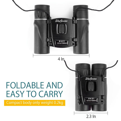 SkyGenius 8x21 Binocular Foldable And Easy To Carry Around