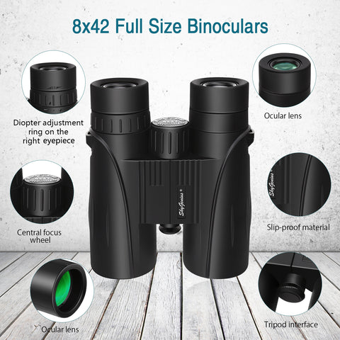8x42 binocular with easy to focus and anti-slip structure