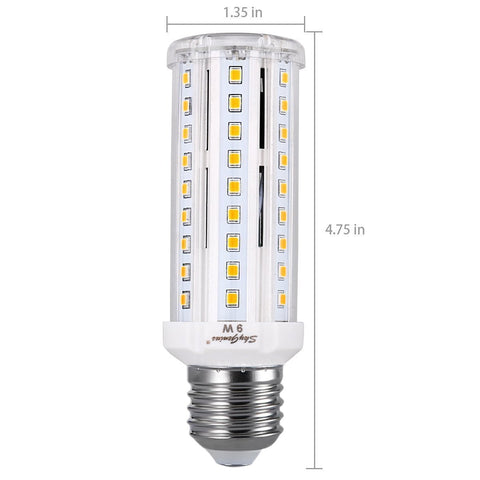 SkyGenius 9W Small LED Corn Light Bulb - Size Of 1.35 x 4.75 Inches