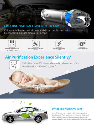 Car Air Purifier, Car Air Freshener and Ionic Air Purifier
