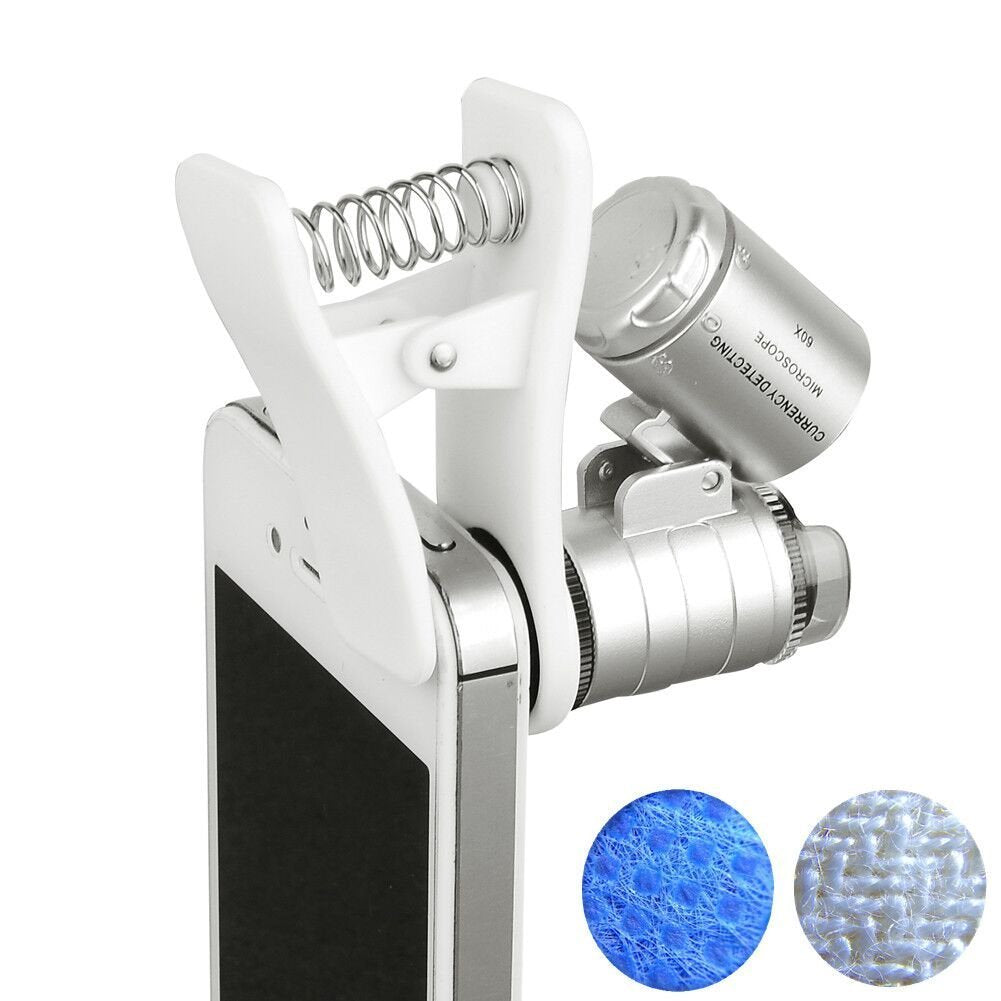 Professional 60X Zoom Clip-On Type Cellphone Microscope Magnifier with LED/UV Lights
