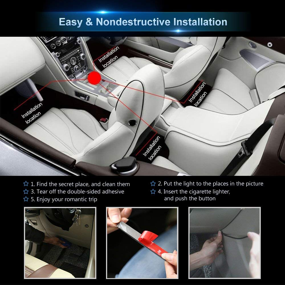 App Controller Car Interior Lights With Sound Active Function Purefeel