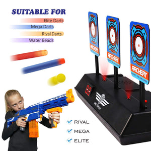 Auto-Reset Electric Scoring Target, Digital Target with Light Sound for Nerf Guns N-Strike Elite/Mega/Rival Series