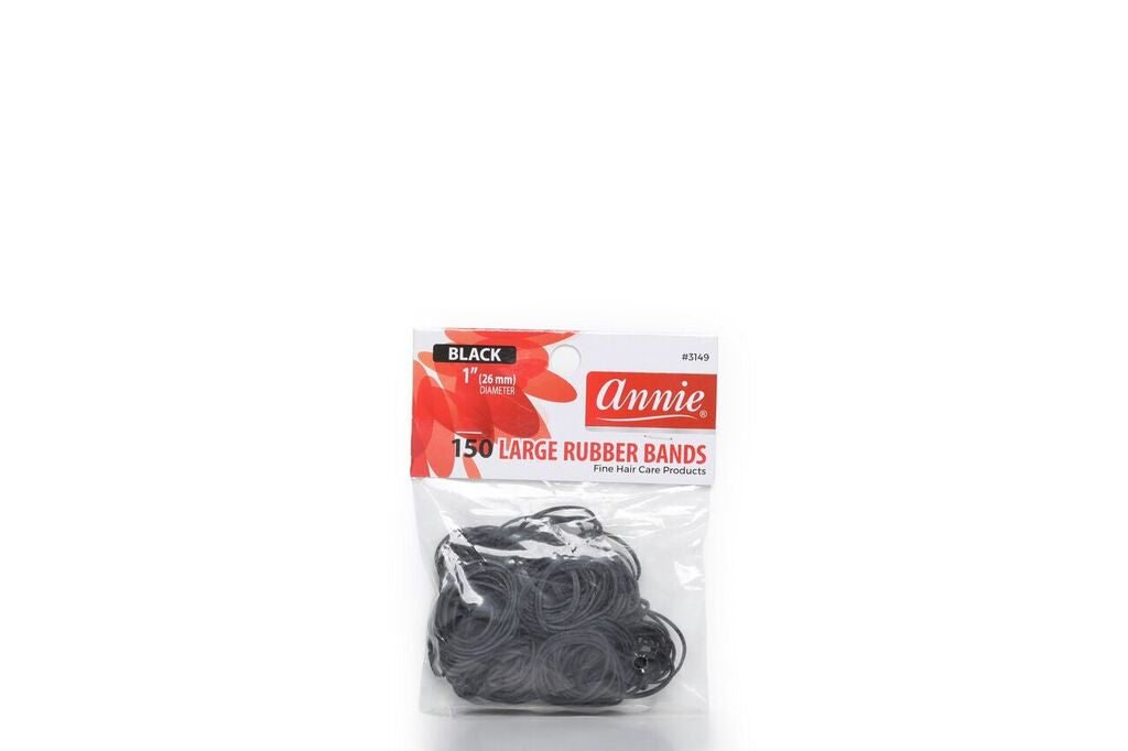 Annie 150 LARGE RUBBER BANDS BLACK 1""