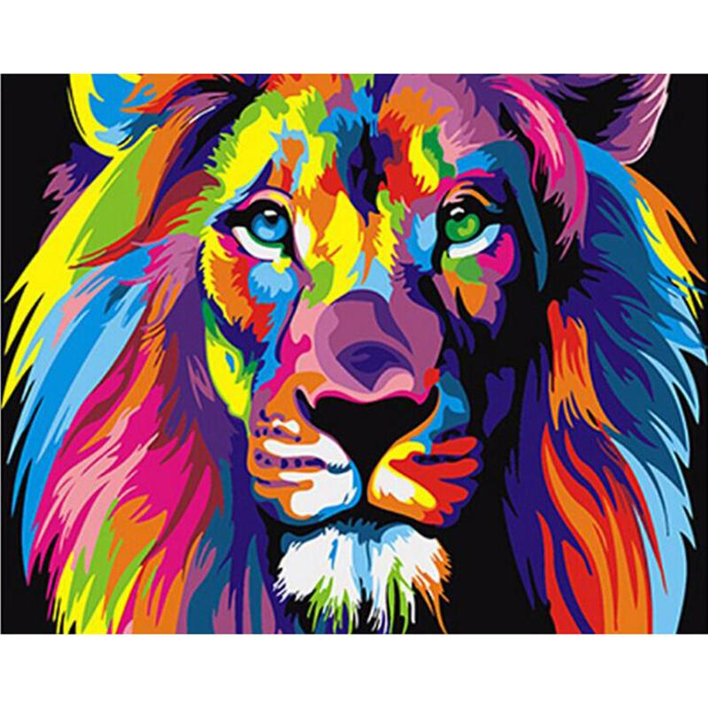 Lion painting by numbers novelty wall art diy kit