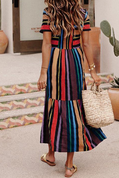 Frigirl Striped Multicolor Ankle Length Dress