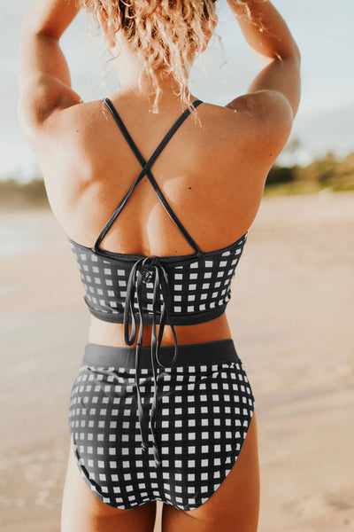 Frigirl Plaid Black Two-piece Swimsuit