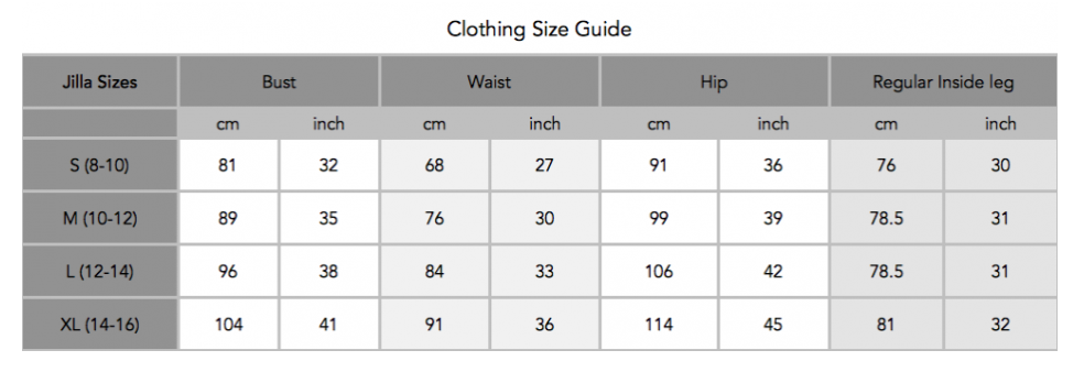 jilla-active-size-chart-sustainable-sportswear-ethical-activewear