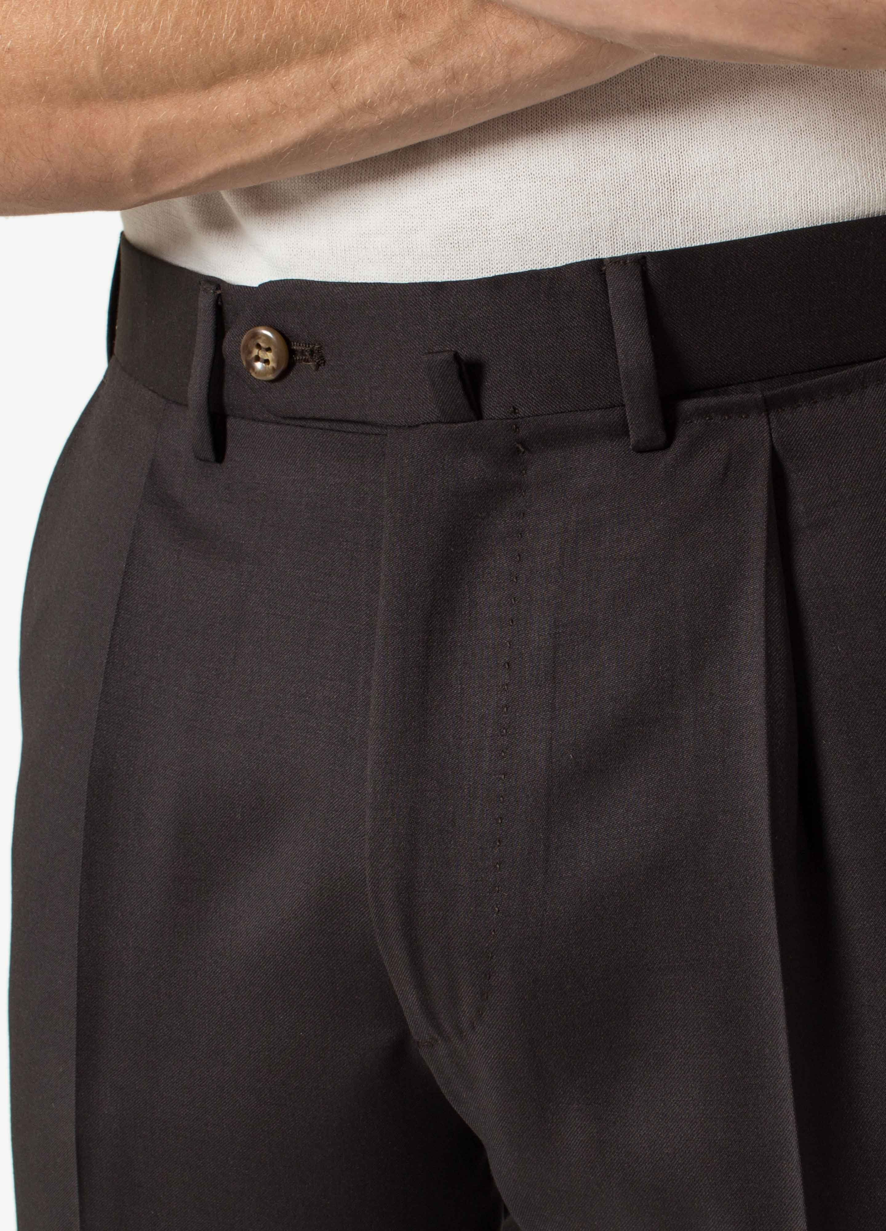 Serge Twill Pleated Trousers