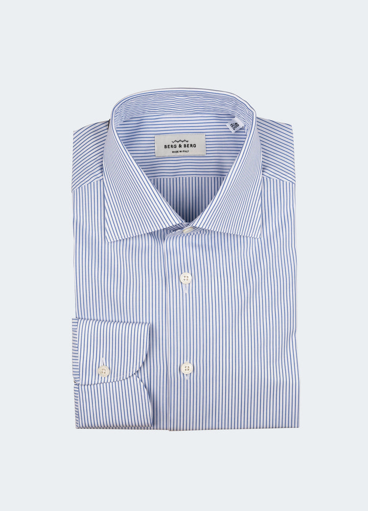 Frank II Striped Spread Collar Shirt - White/Light Blue Berg&Berg