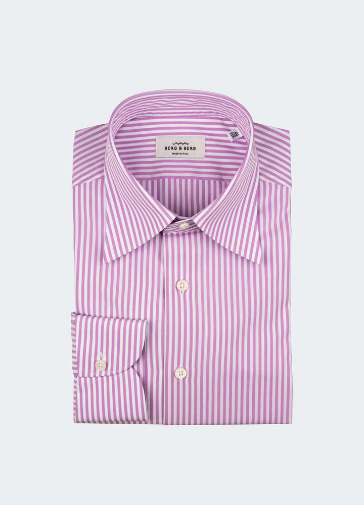 Fabian Striped Turndown Collar Shirt - White/Pink Berg&Berg