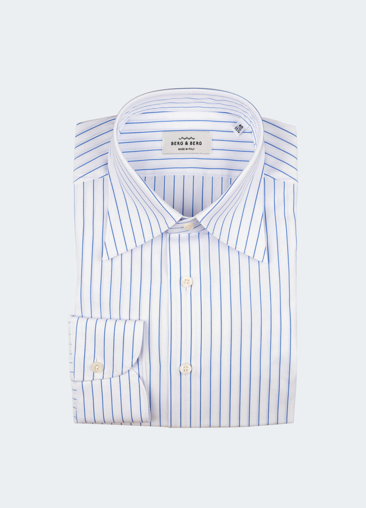 Fabian Striped Turndown Collar Shirt - White/Blue Berg&Berg