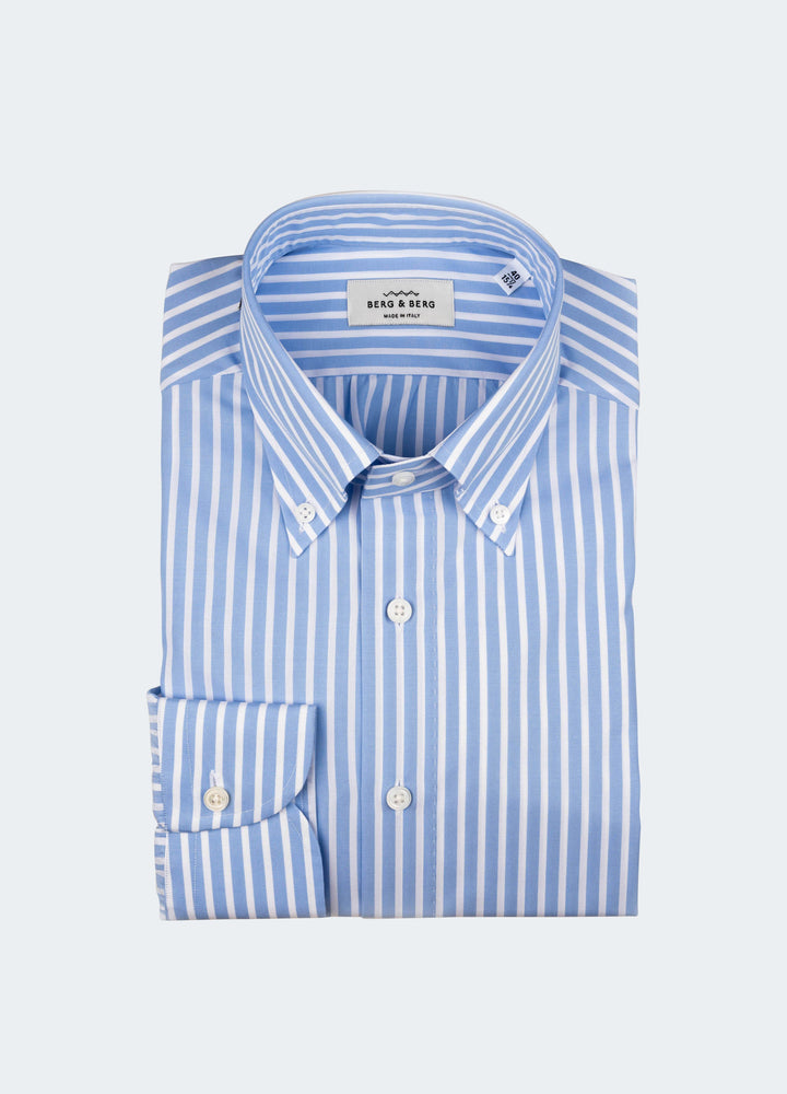 Frithiof Handmade Striped Button Down Shirt - Light Blue/White Berg&Berg