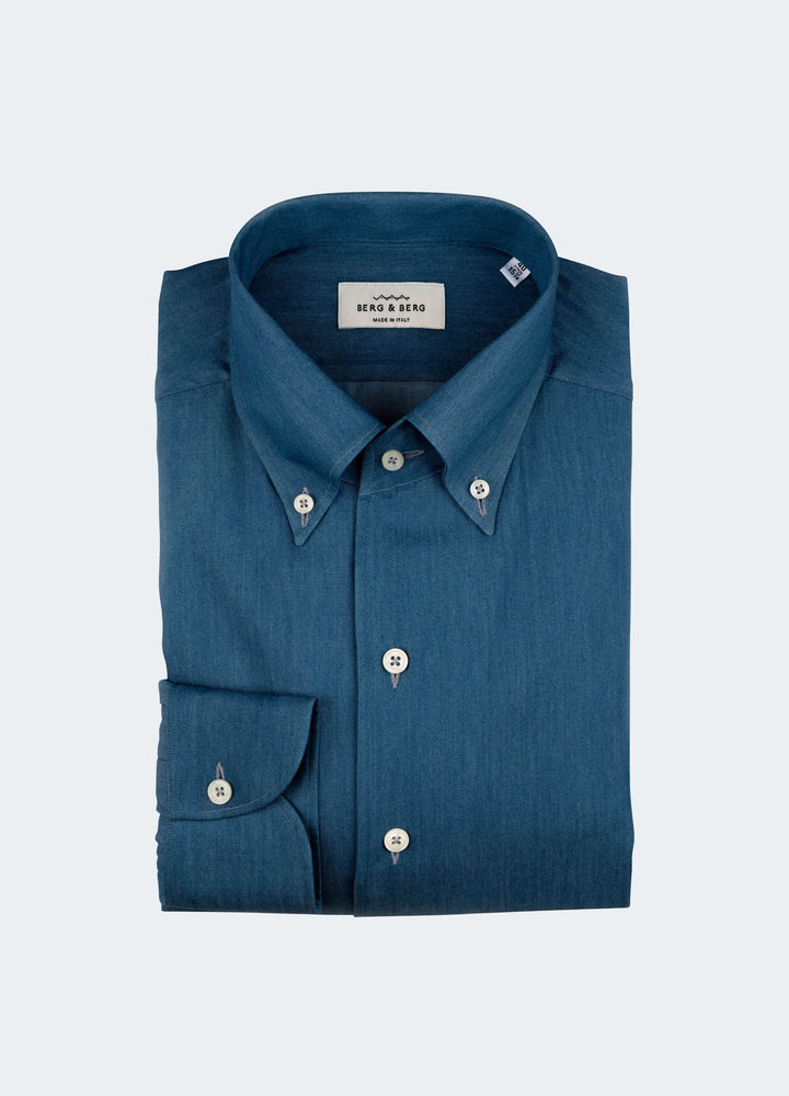 Fred One Piece Collar Shirt - Denim Blue Berg&Berg