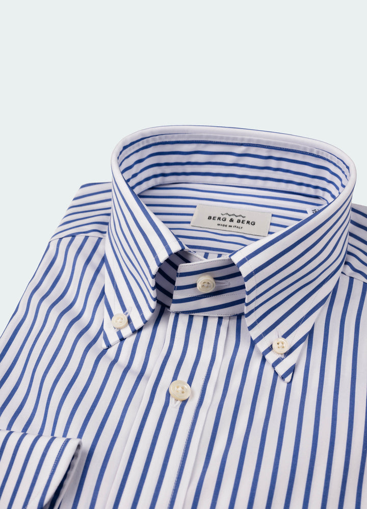 Filip II Striped Button Down Shirt - White/Navy Berg&Berg
