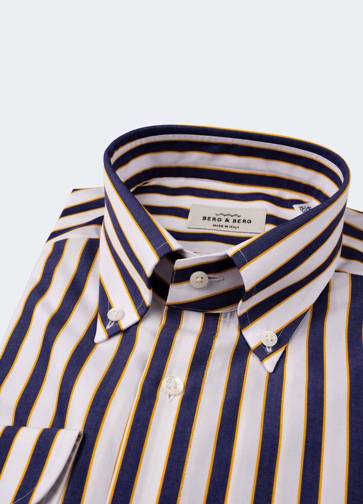 Frithiof Handmade Striped Button Down Shirt - White/Blue/Yellow Berg&Berg