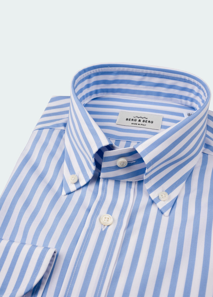 Filip II Striped Button Down Shirt - White/Blue Berg&Berg